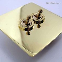 Victorian Dolly Switch Brass 2 Gang 2 Way