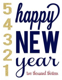 Blue and Gold Happy New Year free printable