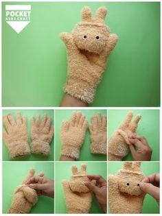 対象年齢:5歳くらい〜 むずかしさ:★★☆☆☆(かんたん) 手袋を使った、うさぎハンドパペットの作り方を紹介し…