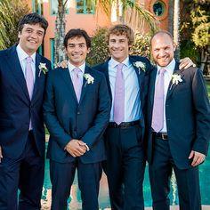 Brides.com: An Elegant Seaside Wedding in Malibu, California. Davide's French-cuff shirt was pinned with Hermes cufflinks.