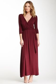 Surplice Neck Belted Maxi Dress