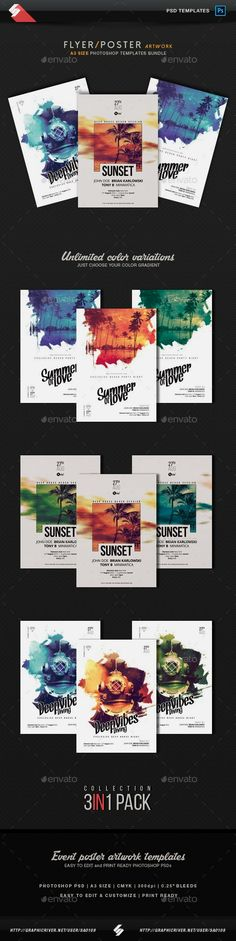 Electronic music party flyer, poster templates bundle Creative Sound Collection 2 – Pack of three creative A3 size posters / flyers for different styles of music parties, events or sessions like deep…More