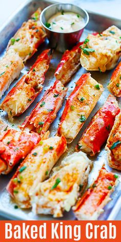Baked King Crab - Baked King Crab - sweet, juicy, and crazy yummy crab legs baked with Sriracha butter. These king crab legs are so good you'll want it every day Bake Crab Legs Recipe, King Crab Recipe, Dipping Sauce For Crab Legs Recipe, Baked King Crab Legs Recipe, Crab Bake, Shellfish Recipes, Crab Recipes, Rasa Malaysia, Baked Crab Legs