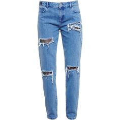 HOUSE OF HOLLAND Distressed Jeans with Lace Details ($330) ❤ liked on Polyvore featuring jeans, pants, bottoms, pantalones, trousers, lace jeans, destroyed jeans, destructed jeans, distressed boyfriend jeans and distressing jeans