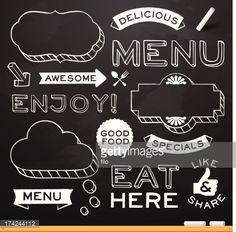 レストランのメニューにある黒板の要素