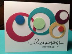 hand crafted card ... die cut circles within circles ... fun card ... graphic look ...