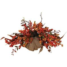 Fall Berries and Pine Cone Wall Decor (Natural) (68 CAD) ❤ liked on Polyvore featuring home, home decor, autumn, pine cone home decor, autumn home decor y fall home decor