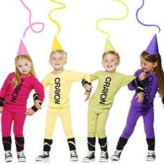 Colorful and Easy DIY Crayon Costume (via Parents.com). Every kid loves to color, so dress up your little one as a crayon. Black felt quickly turns brightly-colored long johns into this iconic art supply. Top them off with a matching party hat, and they are ready to go. Have a group of children go together and one of the parents could dress as the 'crayon box'.