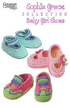 www.maggiescrochet.com             Even though babies are not able to walk, you can still adorn their pretty little feet with shoes. The Sophia Grace Baby Girl Shoes are soft and comfortable for little feet. These adorable baby shoes are sure to become favorite projects for shower gifts. The Sophia Grace Baby Girl Shoes pattern includes three shoe styles