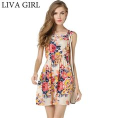 a12dead1da LIVAGIRL New Spring Sexy Summer Beach Dress Female O-neck Sleeveless Sling  Dresses For Women Fashion Casual Colorful vestidos