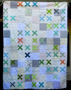 Knit snippet quilt 180x230cm #lowvolume #crossstitch | www.lotjemeijknecht.nl