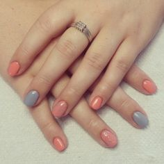 Peach and blue nails