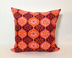 Retro Orange & Purple Scatter Pillow 1970s Cushion by Retro68