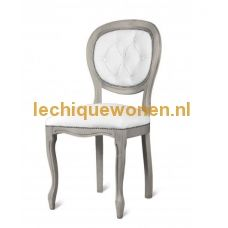 Barok (eetkamer )stoel classic  medaillon wit sky