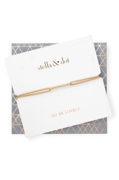 Gold Pave Sparkle Wishing Bracelet | Stella & Dot | Our favorite wishing bracelet dressed up in pavé sparkle! Sliding knot closure for adjustable length. Shiny gold plating with dark gray cord. Comes in specialty packaging with self-envelope, makes a great gift!