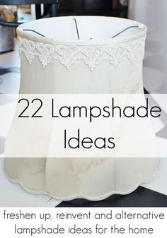 Things to do with out of style lampshades ways to update old lampshades and lampshade alternatives! Things to do with out of style lampshades ways to update old lampshades and lampshade alternatives! Decorate Lampshade, Lampshade Redo, Fabric Lampshade, Lampshade Ideas, Lamp Redo, Decorating Lampshades, Bedroom Lampshade, Recover Lamp Shades, Old Lamp Shades