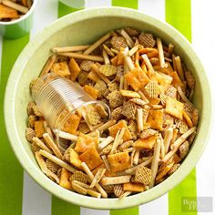 Budget-friendly bites like cheese crackers, rice cereal, and shoestring potatoes are perfect for this quick snack mix.