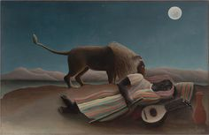 Henri Rousseau The Sleeping Gypsy, oil on canvas, cm × cm, Museum of Modern Art, NY. The Sleeping Gypsy is a painting by French Naïve artist Henri Rousseau. The fantastical depiction. Art And Illustration, Illustrations, Henri Rousseau Paintings, Art Conceptual, Fine Art Prints, Canvas Prints, Canvas Art, Great Paintings, Popular Paintings