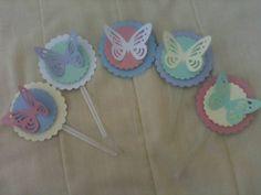 Totens em 3D de borboletas vazadas cor a escolher,               Totens para Cupcake ou latinha de mint to be Lindos , ideal para festa Clean R$ 30,00