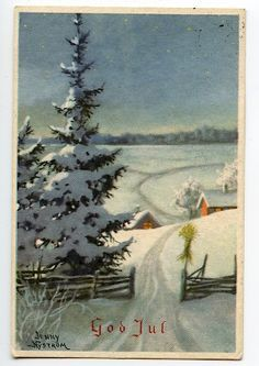 Vintage Greeting Cards, Vintage Christmas Cards, Xmas Cards, Vintage Postcards, Swedish Christmas, Christmas Past, Scandinavian Christmas, Xmas Photos, Christmas Pictures