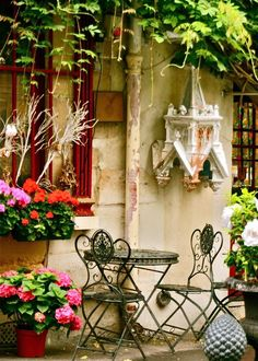 Paris Print - Cafe Photo - Parisian Home Decor - Colorful Print -France Wall Art French Photograph Urban Bistro Red Pink Green Flowers
