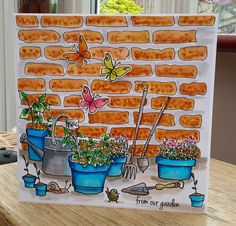 Altenew Garden Grow & TCW Brick Stencil | One Layer Card w Masking with Post-it | wc: ZIC CC MARKERS