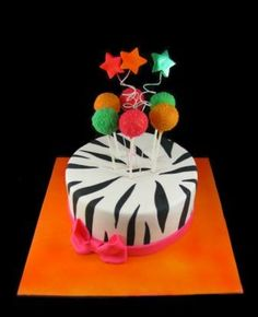 Zebra print cake with cake pops and stars - by Eat Cake (Auckland)