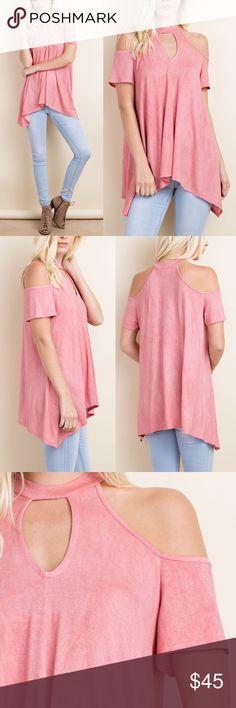 CELIA cold shoulder top - ROSE PINK Lightweight, keyhole Cold shoulder top.   96% Rayon 4% Spandex  NO TRADE, PRICE FIRM Bellanblue Tops Blouses