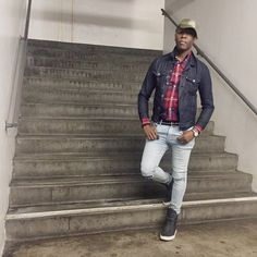 """""""You know that                     I do not depend on                     Nothing or no one""""     Leather Hi Tops - @KennethCole Skinny Distressed Jeans - @HM Plaid Shirt - @Jcrew Chambray Jacket - @Levis Trucker Hat - @EnergieStyle  Time Piece - @Timex Bracelets - @OurSaints"""