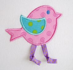 Bird With Ribbon Legs Applique - 2 Sizes!