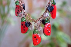 Watermelon necklace Fruit jewelry Lampwork Glass bead Berry Mini Food Girlfriend gift Teen girl gift Valentine gift ideas Gift for woman
