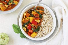 This sweet and savory Thai red curry is filled with sweet potato, bell pepper, cashews, and pineapple. It's is healthier than takeout and easy to make at… Vegetarian Curry, Vegetarian Cooking, Vegetarian Recipes, Cooking Recipes, Cooking Ideas, Curry Recipes, Asian Recipes, Ethnic Recipes, Delicious Vegan Recipes
