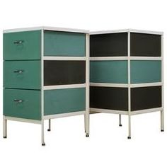 George Nelson Aqua Green Steel Frame Nightstand Chests Herman Miller