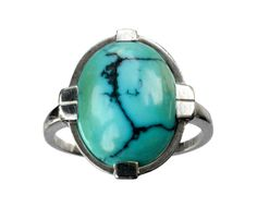1930s European Art Deco Turquoise Ring, 18K White Gold