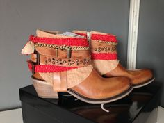 Tan Leather Boho FreeBird Gypsy Boots Festival Boots Cowboy Ankle Boot BNIB