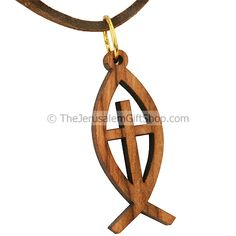 Olive wood Cross within a Fish Pendant - Hand made in the place of ...