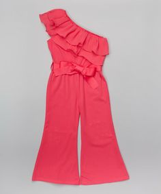 Love this Hot Pink Asymmetrical Ruffle Jumpsuit - Infant, Toddler & Girls on #zulily! #zulilyfinds
