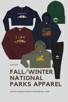 Check out these wonderful fall or winter national park themed clothes, from sweatpants and hats to hoodies and sweaters!