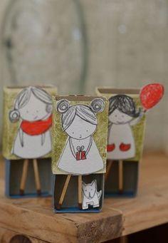 Matchbox girls craft idea for kids Matchbox Mädchen basteln Idee für Kinder Easy Crafts, Diy And Crafts, Arts And Crafts, Paper Crafts, Matchbox Crafts, Matchbox Art, Crafts For Girls, Diy For Kids, Kids Crafts
