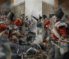 British soldiers defending the Hougomont gate during the Battle of Waterloo, June 1815.