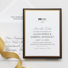 Black & White Save the Date, Black and Gold Wedding, Classic Save the Date, Traditional Save the Date, Same Sex Marriage #savethedate #samesexmarraige #ido
