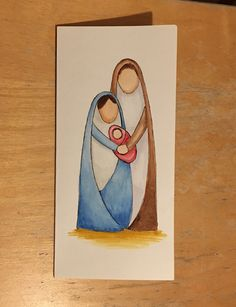 Hand drawn and watercolour. Lo – Nativity Diy How to Ma… – Christmas DIY Holiday Cards Christmas Cards Drawing, Painted Christmas Cards, Religious Christmas Cards, Watercolor Christmas Cards, Christmas Nativity, Watercolor Cards, Christmas Art, Handmade Christmas, Christmas Card Images