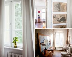 Left pic. simple bottle on windowsill with flowers and greenery.  Need to wash my windows so that more sunlight comes in.