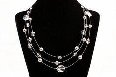 Multi strand necklace  Crystal by DesignsByDom on Etsy, $35.00