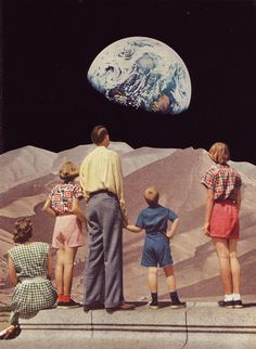 Beth Hoeckel, handmade collages feature retro figures staring into the sky Collages, Surreal Collage, Collage Artists, Surreal Art, Photomontage, Vintage Photography, Art Photography, Plakat Design, Illustration Art