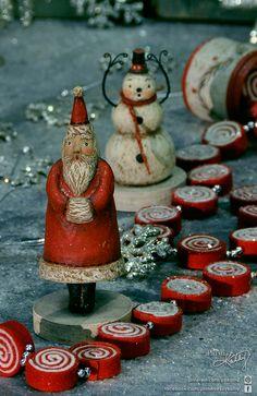 Christmas Decor. Spirited Santa Claus & Snowman by Johanna Parker for Primitives by Kathy