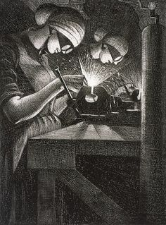 Artist Christopher Richard Wynne Nevinson Title Acetylene Welding From Britain's Efforts and Ideals Date 1917 Medium Lithograph on paper Dimensions Art Prints For Sale, Fine Art Prints, Ww1 Art, Manchester Art, World War One, Art Gallery, History, Film, Drawings