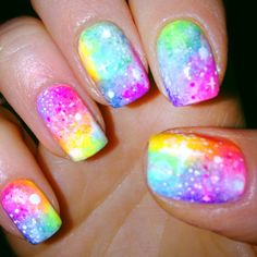 Neon Galaxy Nail-Art (different lighting) by Amy of 'A Different Shade of Polish' her blog on tumblr(2014)<3<3<3