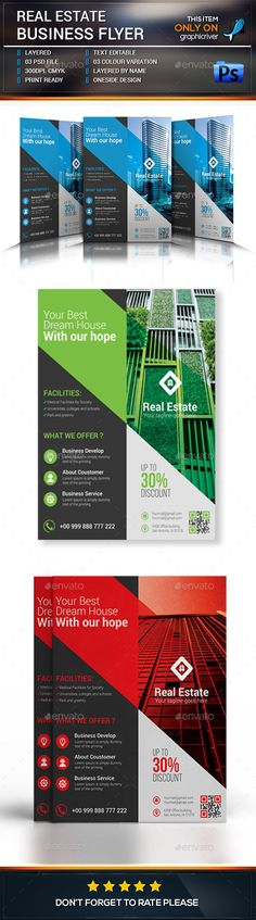 Real Estate Flyer Design Template - Corporate Flyers Template PSD. Download here: https://graphicriver.net/item/real-estate-flyer/16973576?s_rank=166&ref=yinkira