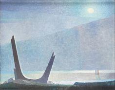 Nattlig Strand Sven Jonson. Oil on canvas 8 ⅞ inches x 10 ⅞ inches.